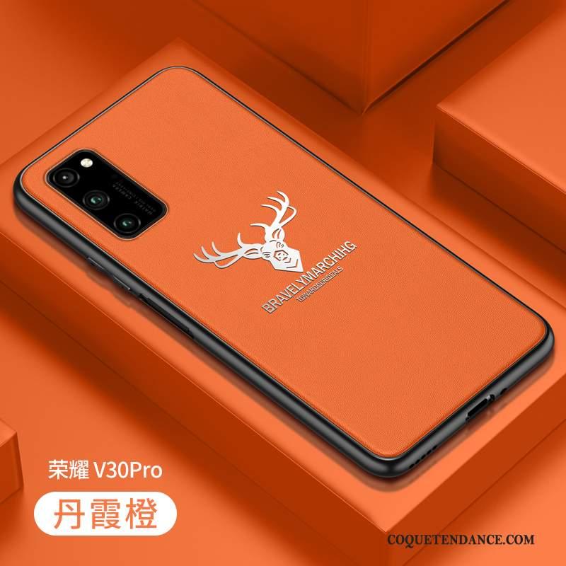 Honor View30 Pro Coque Créatif Orange Cuir Personnalité