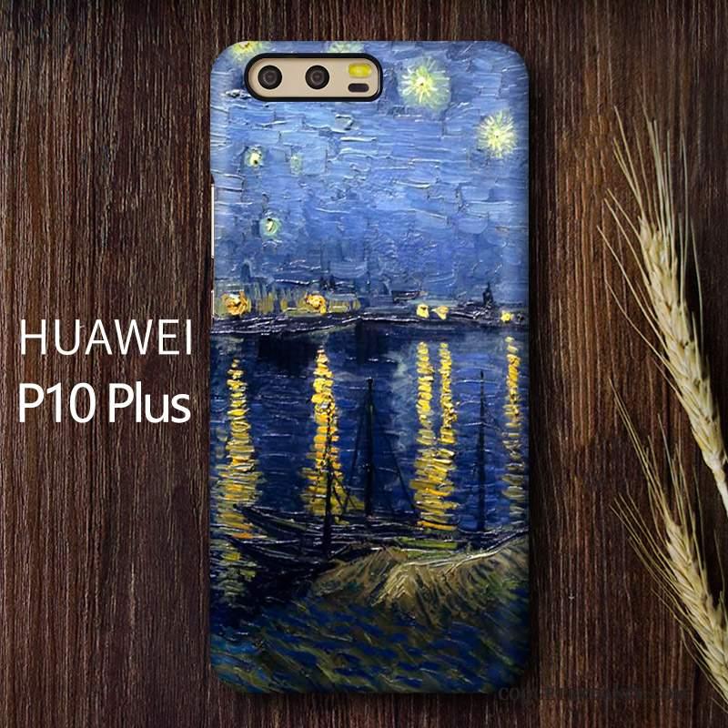 Huawei P10 Plus Coque Art Haute Incassable Délavé En Daim