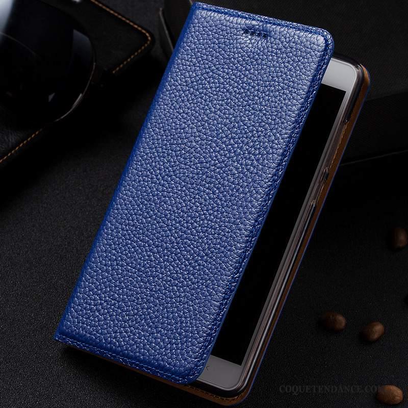Huawei Y7 2019 Coque Protection Étui En Cuir Modèle Fleurie Litchi