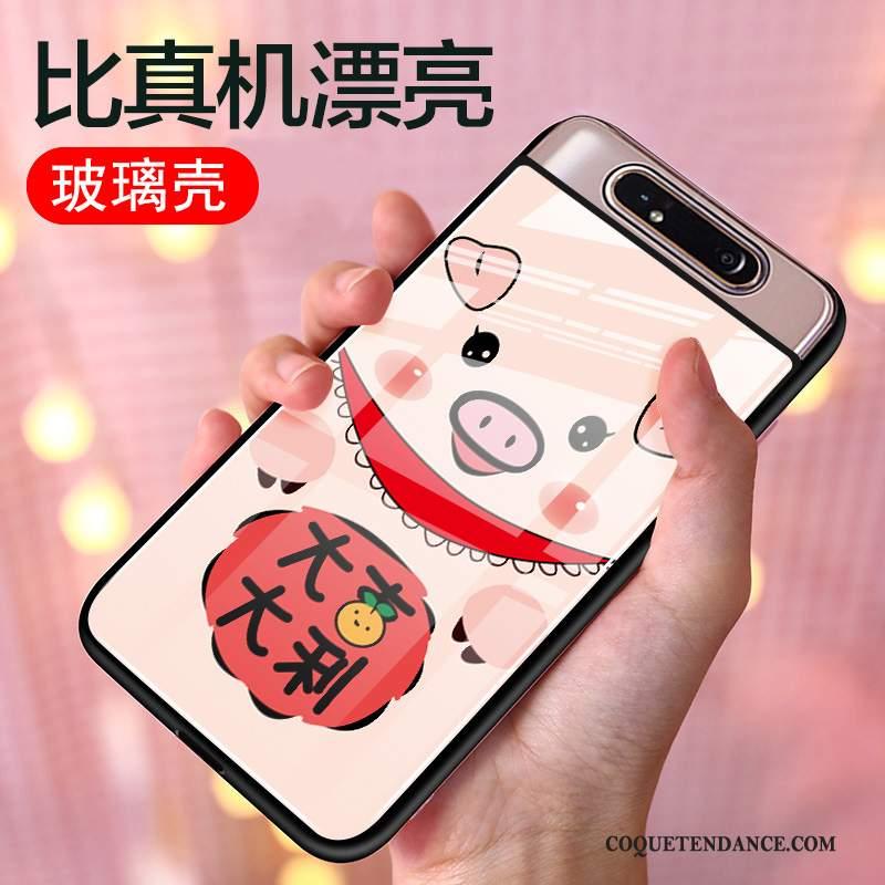 Samsung Galaxy A80 Coque Incassable Étui Tout Compris Verre Rouge