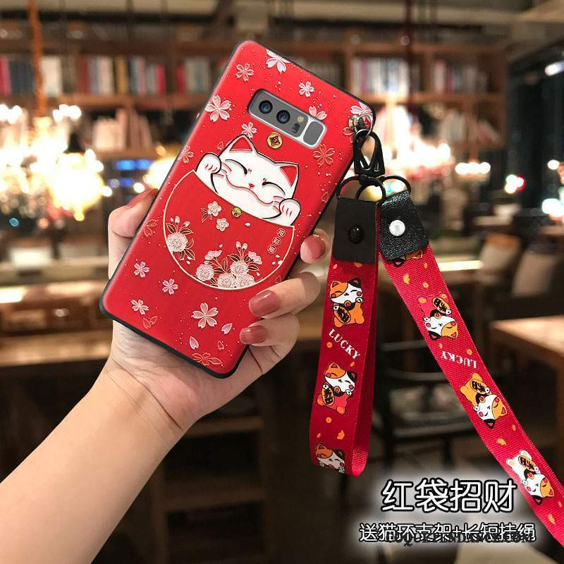 Samsung Galaxy Note 8 Coque Chat Rouge Silicone Étui