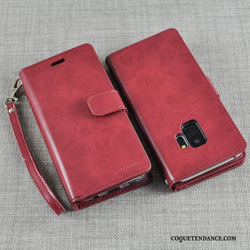 Samsung Galaxy S9+ Coque De Téléphone Rouge Protection Silicone Étui En Cuir