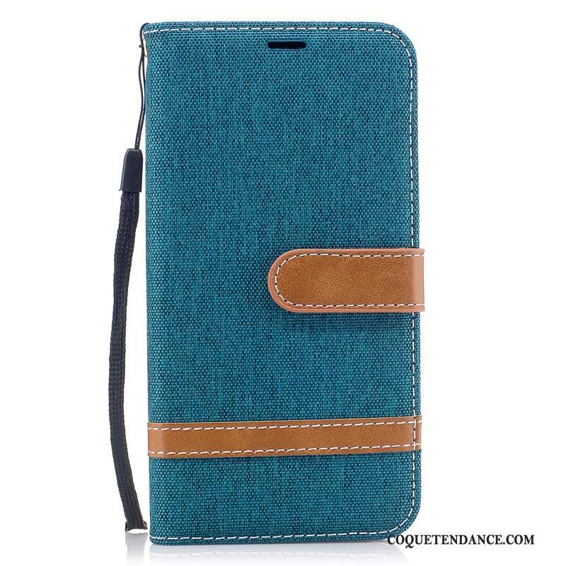 iPhone 11 Coque En Denim Bleu Étui Carte Portefeuille