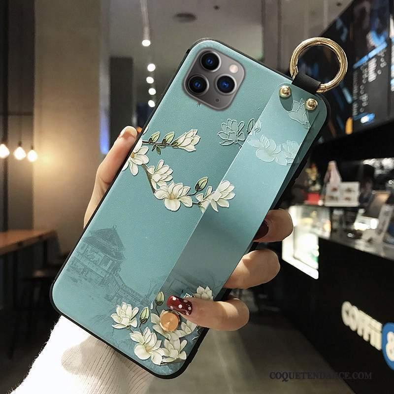 iPhone 12 Pro Coque Étui Vintage De Téléphone Gaufrage Bleu