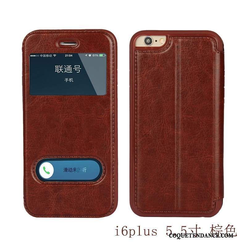 iPhone 6/6s Plus Coque Marron Protection Clamshell Étui En Cuir Incassable