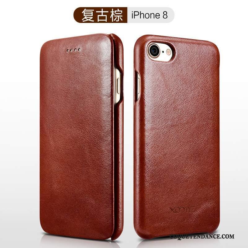 iPhone 8 Coque Étui En Cuir Business Cuir Véritable Bordure Incassable