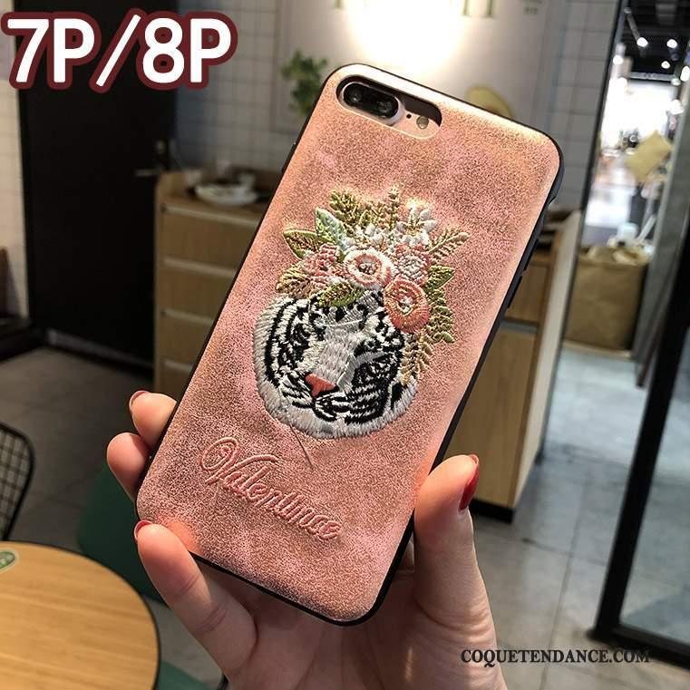 iPhone 8 Plus Coque De Téléphone Rose Étui Créatif Broderie
