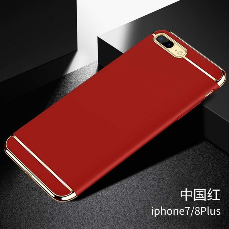 iPhone 8 Plus Coque Difficile Noir Délavé En Daim À Bord Rouge