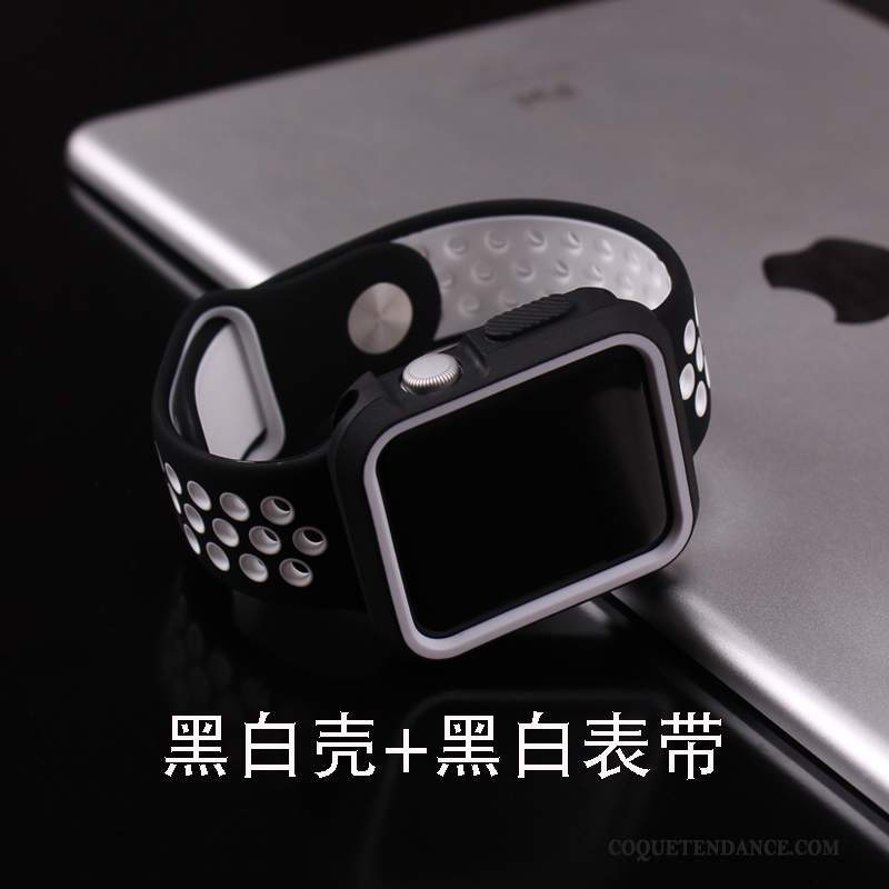 Apple Watch Series 1 Coque Protection Tendance Silicone Noir Gris