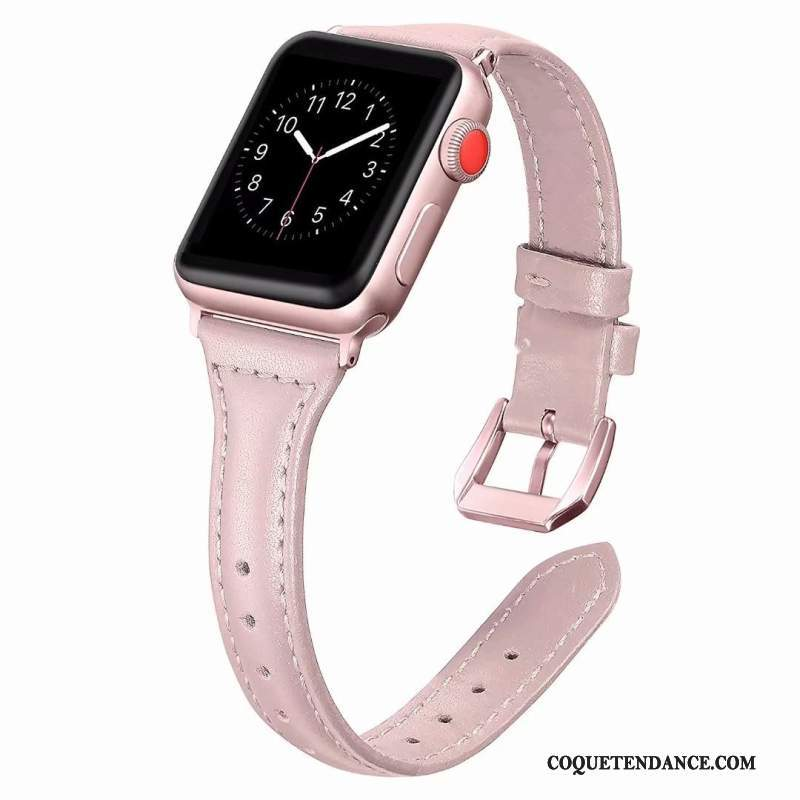 Apple Watch Series 1 Coque Rose Côté Fin Cuir Véritable