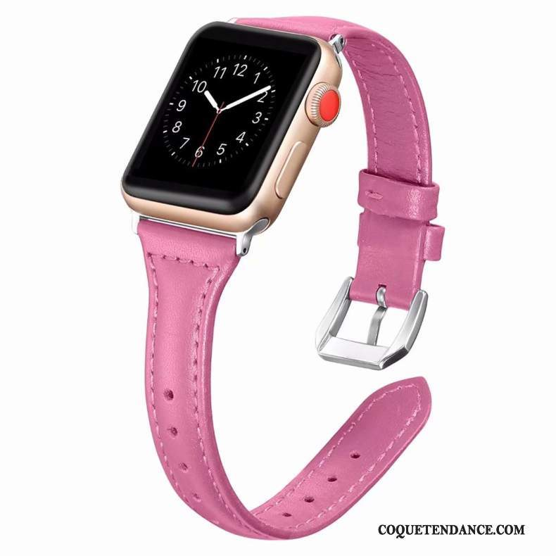 Apple Watch Series 2 Coque Côté Fin Cuir Véritable Rose