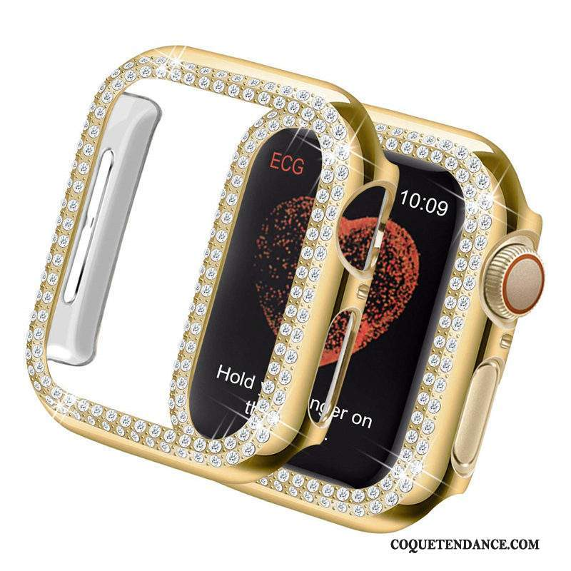 Apple Watch Series 5 Coque Incruster Strass Or Tendance Protection Légères