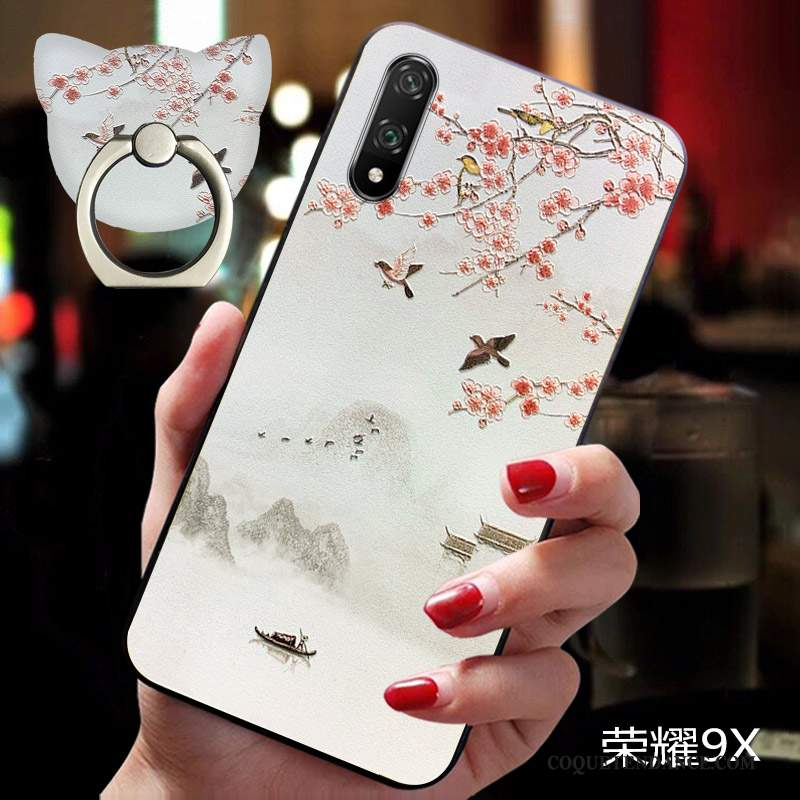 Honor 9x Coque Fluide Doux Personnalité Style Chinois Silicone Amoureux