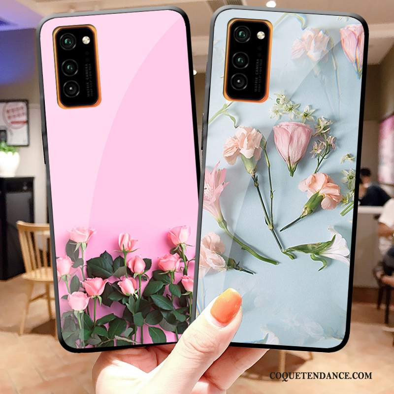 Honor View30 Pro Coque Simple Fleur Charmant Rose Verre Trempé