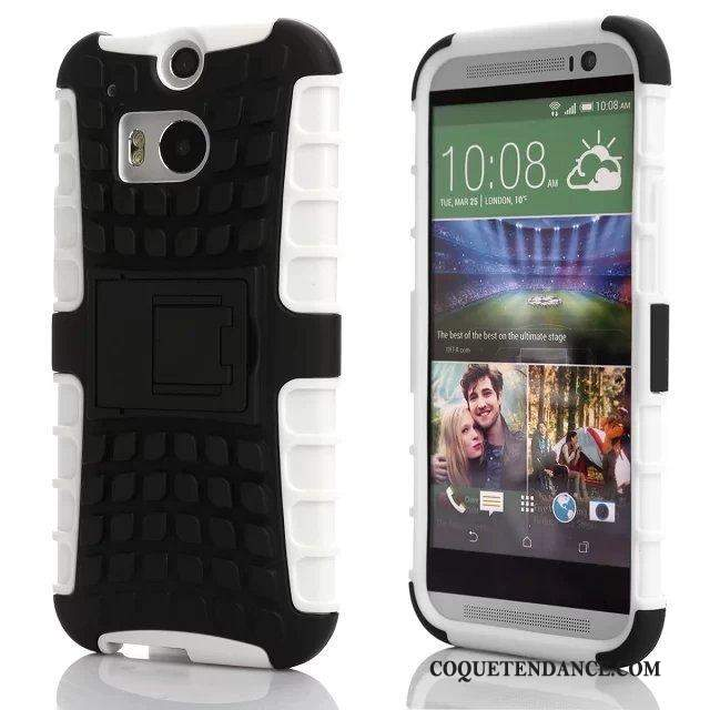 Htc One M8 Coque Support Antidérapant Blanc Étui