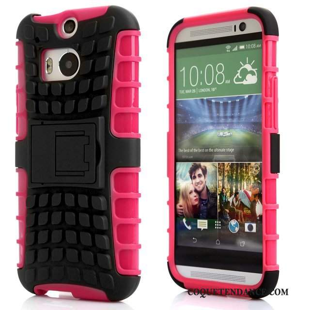 Htc One M8 Coque Support Incassable Rouge Protection