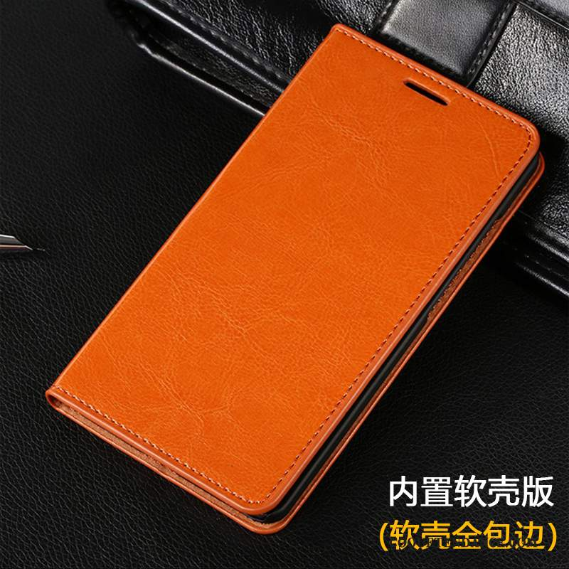 Huawei Ascend Mate 7 Coque Business Étui En Cuir Housse Orange Incassable
