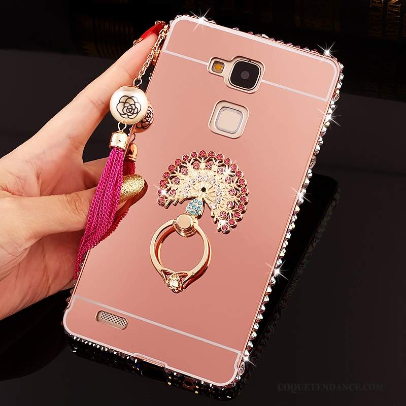Huawei Ascend Mate 7 Coque Incruster Strass Protection Rose Difficile Tendance