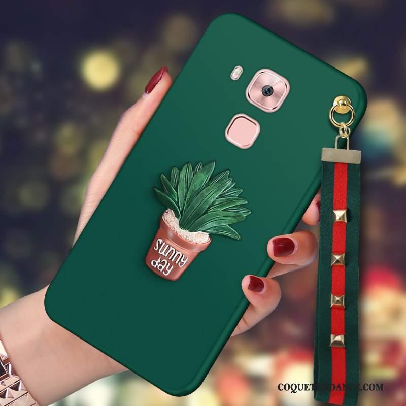 Huawei G9 Plus Coque Délavé En Daim Ornements Suspendus Étui Vert Foncé Protection
