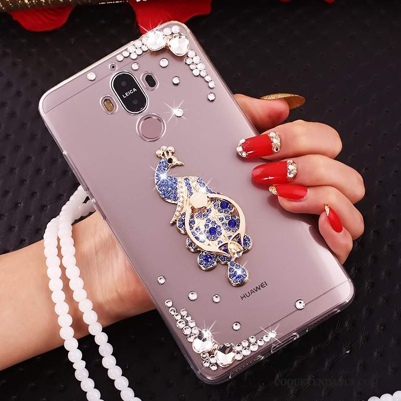 Huawei Mate 10 Pro Coque Bleu Silicone Strass Papillon Ornements Suspendus