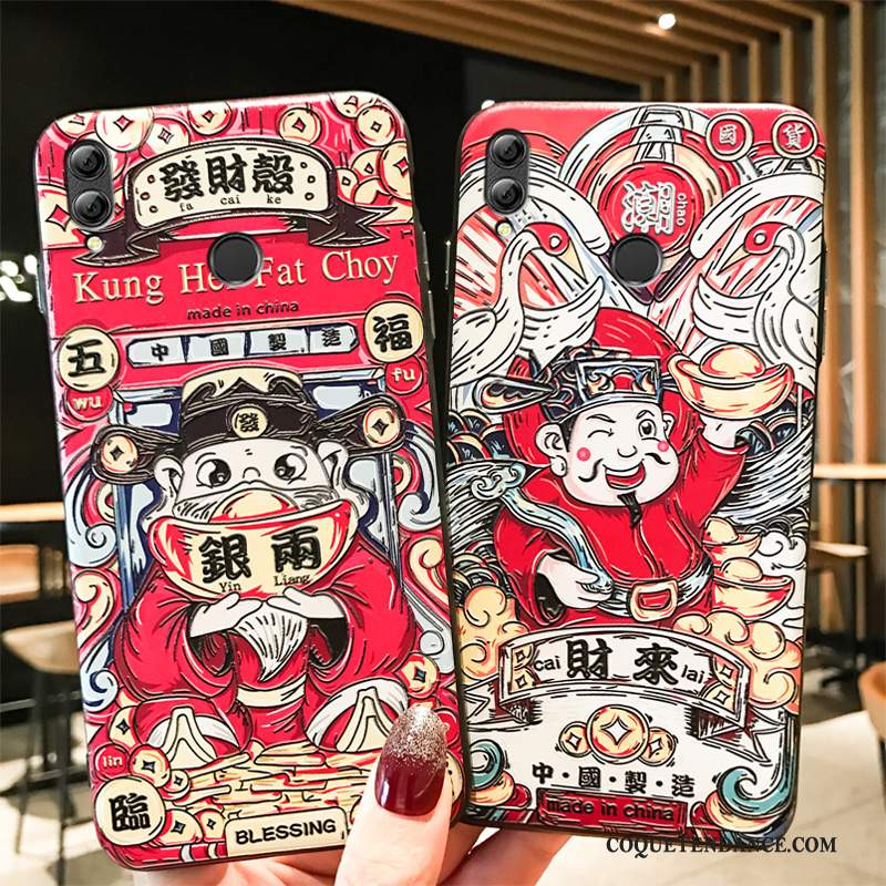 Huawei P Smart+ 2019 Coque Incassable Protection Rouge Style Chinois Richesse