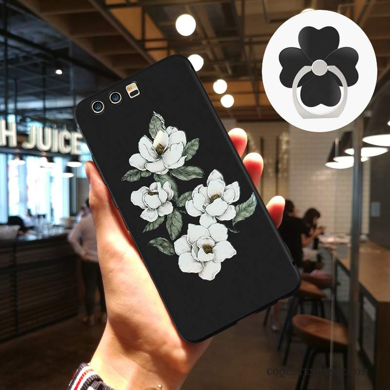 Huawei P10 Plus Coque Protection Incassable Silicone Gaufrage Noir