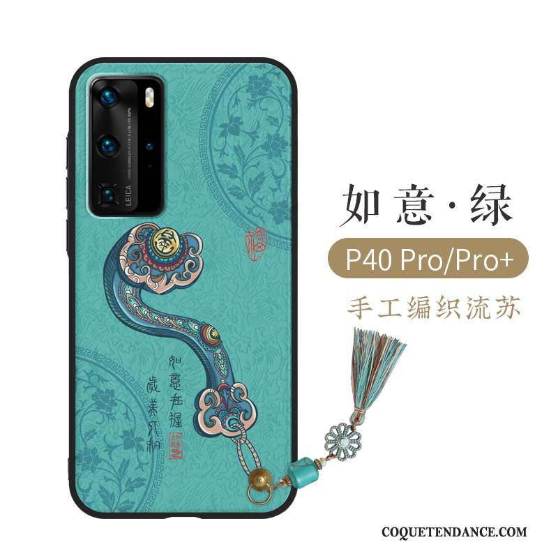 Huawei P40 Pro Coque Gaufrage Style Chinois Créatif Luxe Protection