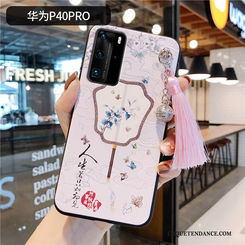Huawei P40 Pro Coque Silicone Rose Étui À Franges Style Chinois