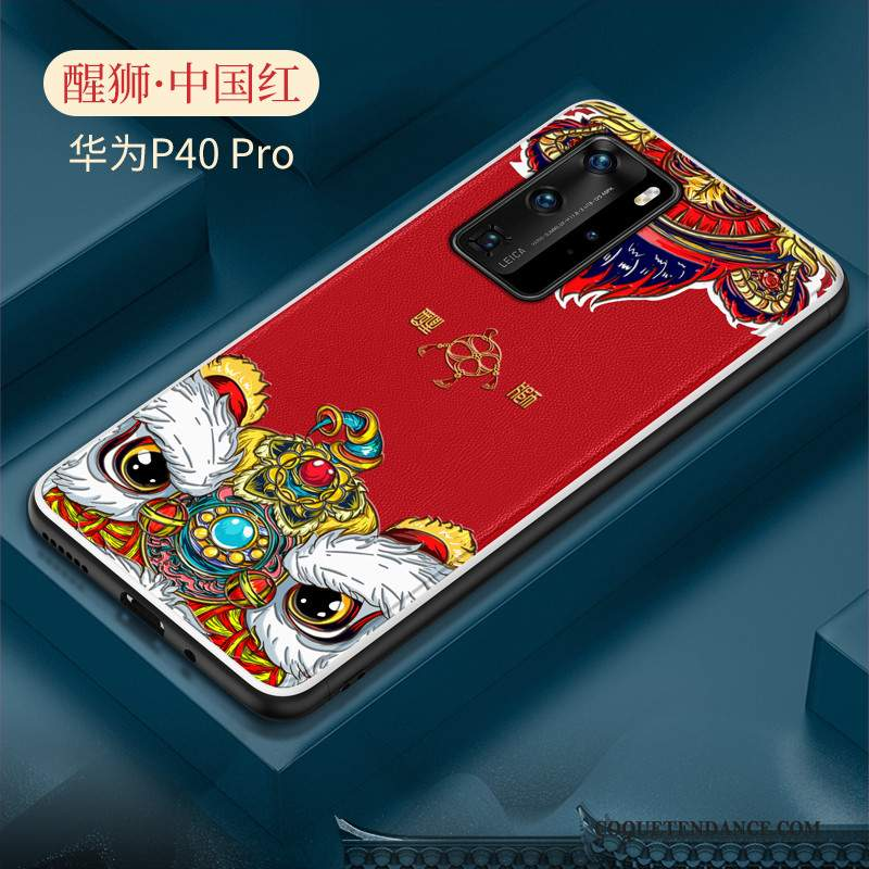 Huawei P40 Pro Coque Style Chinois Protection Tendance Créatif Net Rouge