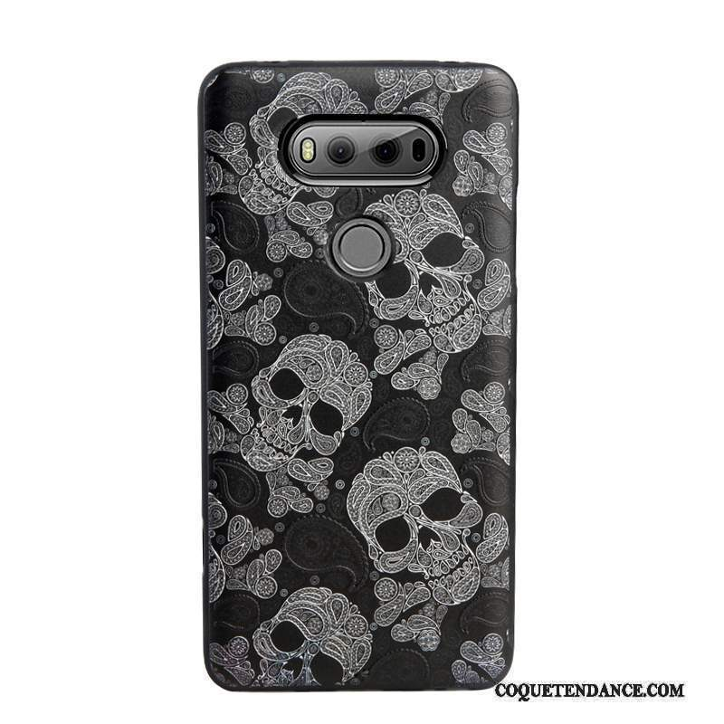 Lg V20 Coque Ornements Suspendus Étui Noir Protection Gaufrage