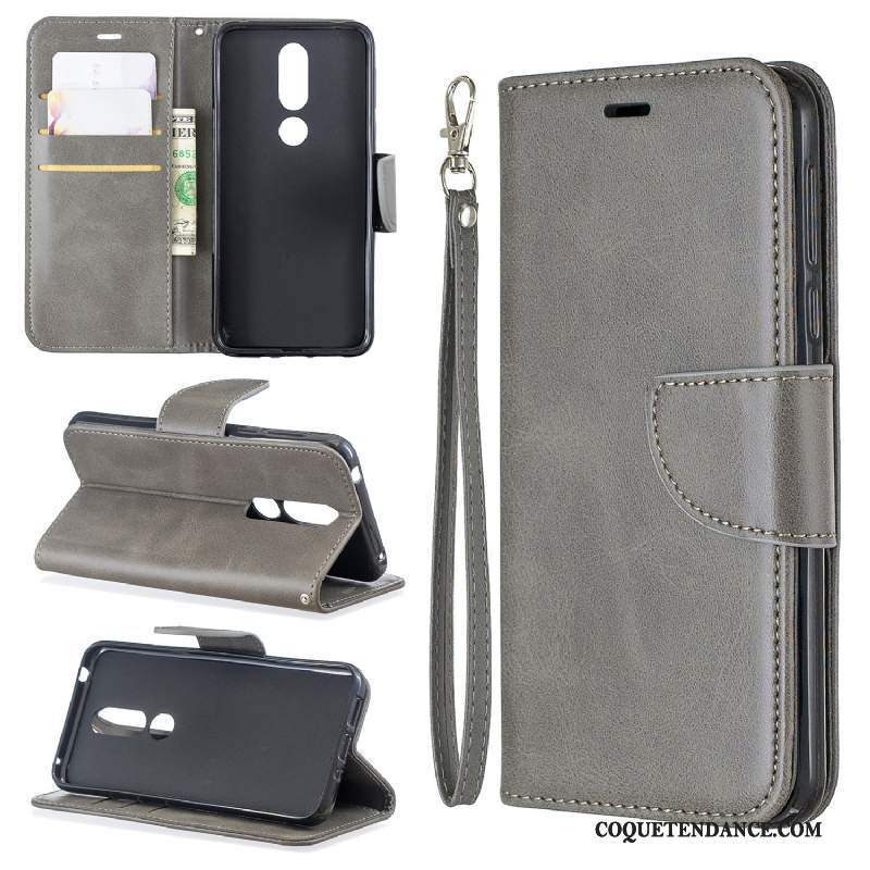 Nokia 5.1 Plus Coque Étui En Cuir Protection Portefeuille Gris Support