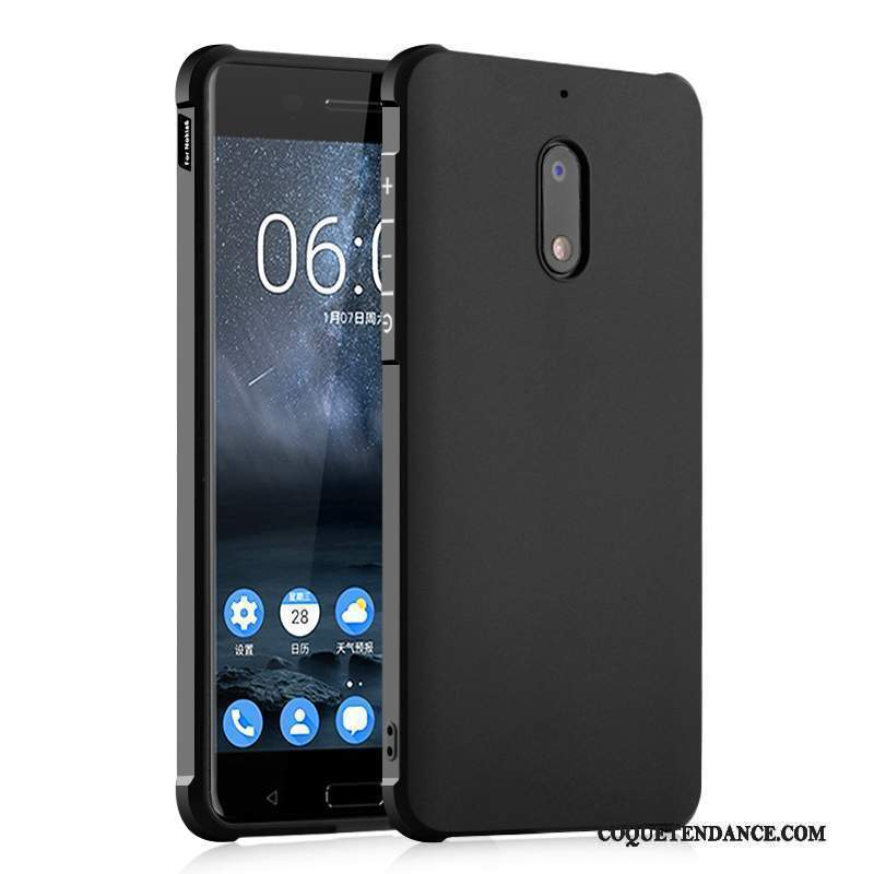 Nokia 6 Coque Simple Protection Noir Délavé En Daim Incassable