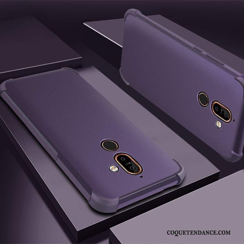 Nokia 7 Plus Coque Protection Violet Incassable Silicone