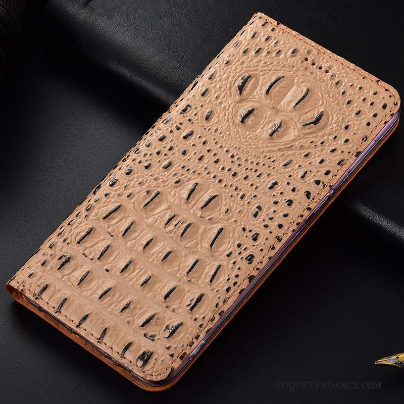 Nokia 8.1 Coque Cuir Véritable Incassable Protection Crocodile Étui