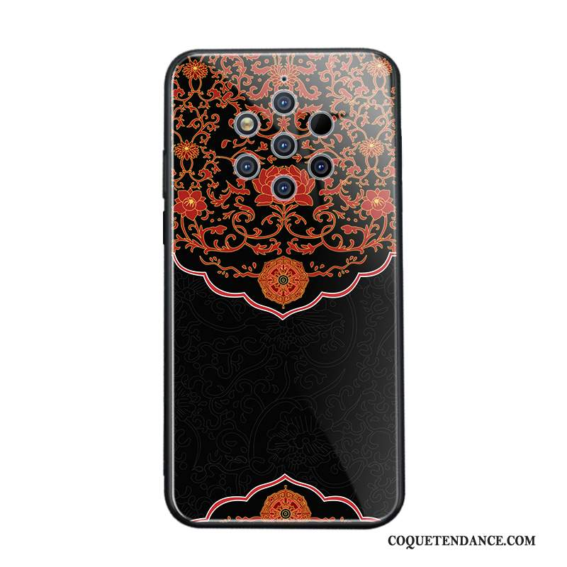 Nokia 9 Pureview Coque Style Chinois Noir Verre Net Rouge