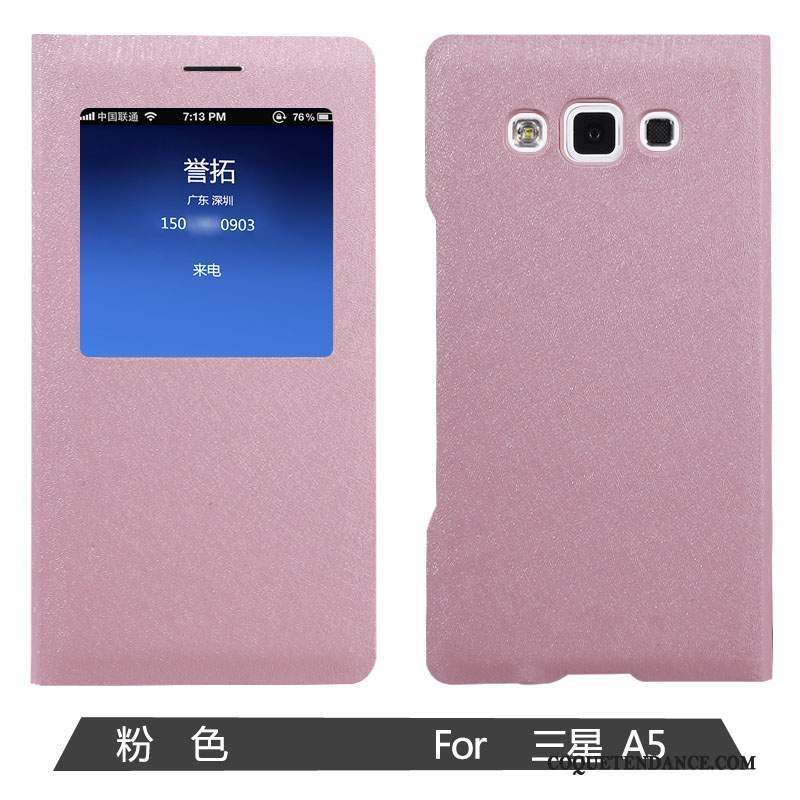 Samsung Galaxy A5 2015 Coque Incassable Rose Étui Protection Étui En Cuir