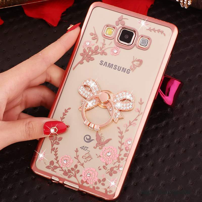 Samsung Galaxy J3 2016 Coque Rose Strass Silicone Protection Étui