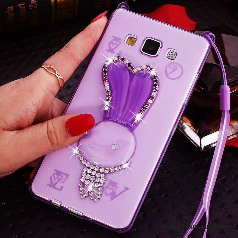 Samsung Galaxy J7 2015 Coque Dessin Animé Violet Transparent Strass