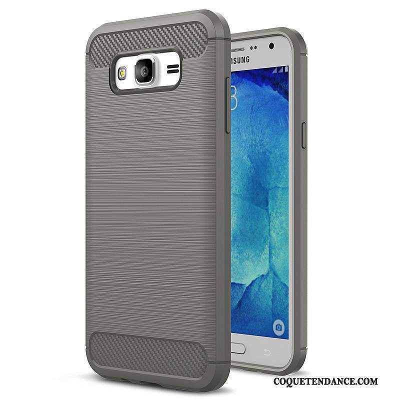 Samsung Galaxy J7 2015 Coque Protection Silicone Étui Gris