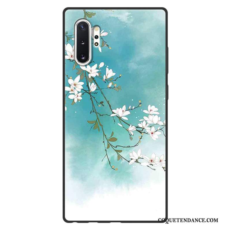 Samsung Galaxy Note 10+ Coque Art Style Chinois Vintage Vert Protection
