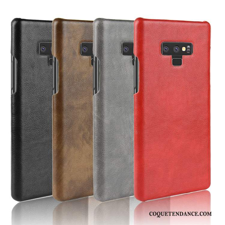 Samsung Galaxy Note 9 Coque Protection Rouge Cuir Litchi