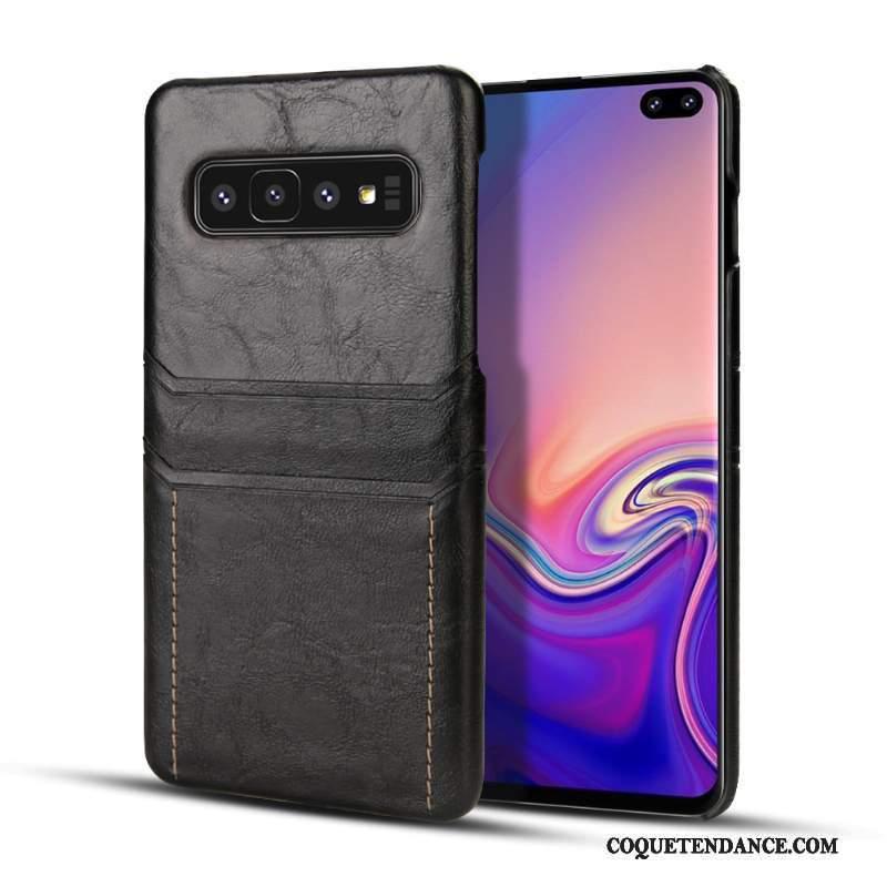 Samsung Galaxy S10+ Coque Noir Jeunesse Business Incassable Étui En Cuir