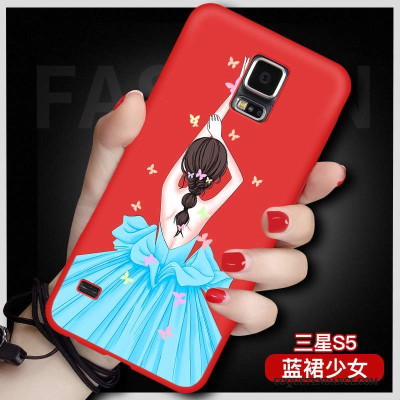 Samsung Galaxy S5 Coque Grand Rouge Protection Tout Compris Silicone