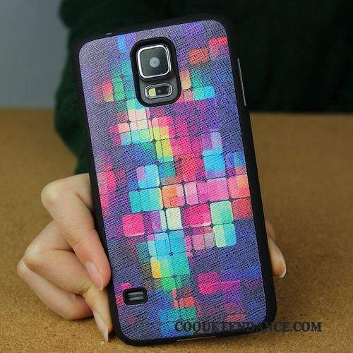 Samsung Galaxy S5 Coque Protection Border Délavé En Daim Multicolore Étui