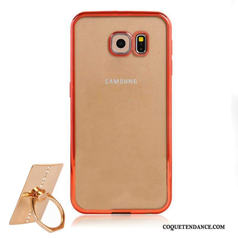 Samsung Galaxy S6 Coque Rouge Fluide Doux Transparent Protection Étui