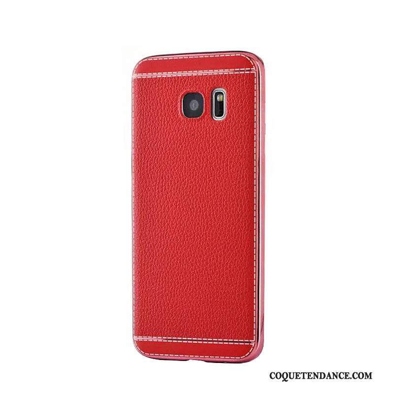 Samsung Galaxy S7 Edge Coque Business Modèle Fleurie Protection Rouge Placage