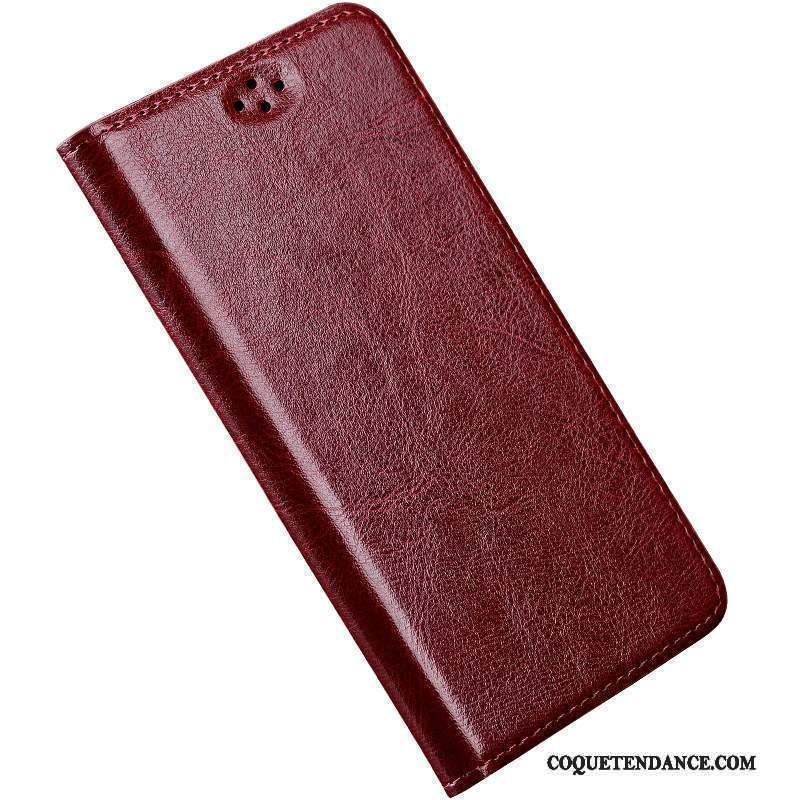 Sony Xperia Z2 Coque Cuir Véritable Luxe Clamshell Vin Rouge Silicone