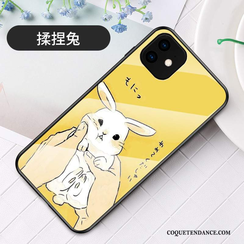 iPhone 11 Coque Dessin Animé Lapin Jaune Charmant Incassable