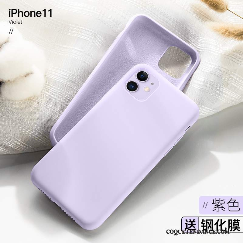iPhone 11 Coque Luxe Net Rouge Violet Tendance Silicone