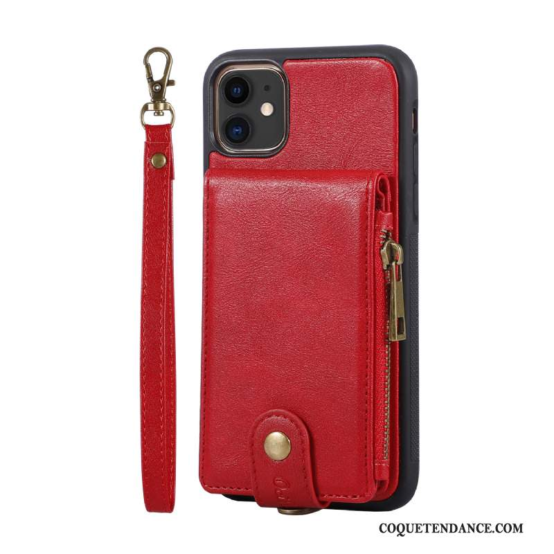 iPhone 12 Coque Rouge Support Portefeuille Carte Sac Carte